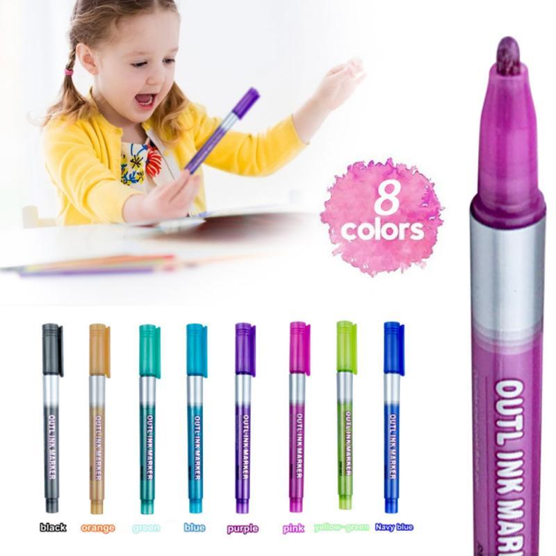 1Set Contour Pen 8-color Double Line Color Outline Pen Christmas Pen Dream Marker Pen Healthy Non-toxic Marker Pens Dropshipping
