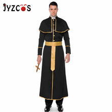 JYZCOS Halloween Costumes for Men Adult Professional Cosplay Christian Pastor Roman Catholic Priest Costume Disfraz Mujer
