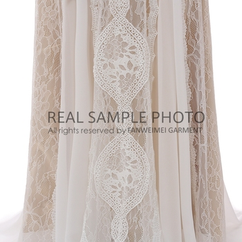 Factory Price 100 % Real Sample Photo Long Sleeve Backless O-Neck Lace Boho Bohemian  Beach Wedding Dress Bridal Gown 4
