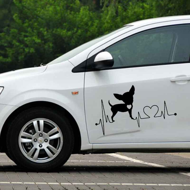 15,2*8,6 см Чихуахуа виниловая наклейка с принтом собаки прекрасные водонепроницаемые наклейки на окна автомобиля Стайлинг украшение черный/серебристый