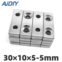 AI DIY 5/10/20Pcs 30x10x5mm Double Hole 5mm N35 Super Strong Block Neodymium Ring Rare Earth Magnet Rectangular 30*10*5-mm5