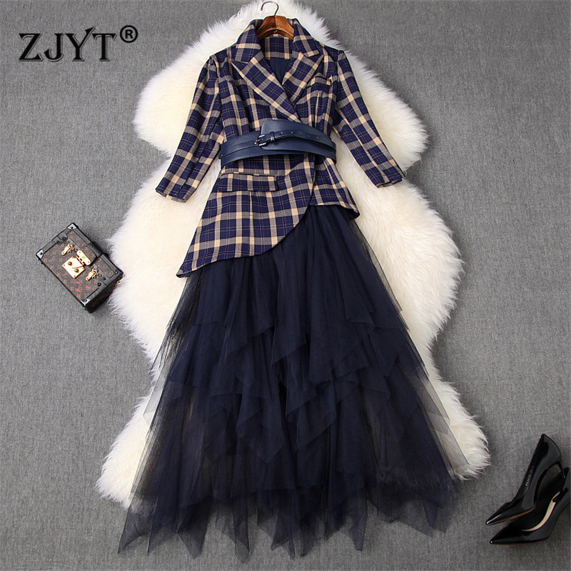 2020 New Spring Designers Office Lady Skirt 2Piece Set Women Fashion Retro Plaid Print Blazer Suit Midi Tulle Skirt Suit Outfit