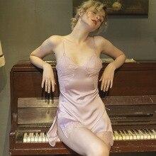 цена на Pink Sexy Deep V Back Passion Backless Slit Ice silk Lace Strap sleepwear Nightdress Set With T-Pants Women