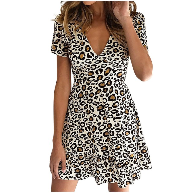 New women's dress fashion sexy V-neck leopard print short sleeve dress different colors available new платье женское 50* 10