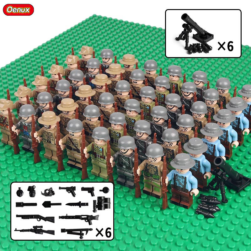 Oenux 48PCS WW2 Series Army Soldiers With Weapon Military Building Block Mini British USA Soviet Figure Legoings Brick Kids Toy