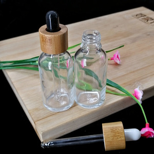 30ml clear glass essential oil dropper bottle cosmetic pipette container packaging bottle eco friendly wooden bamboo lid