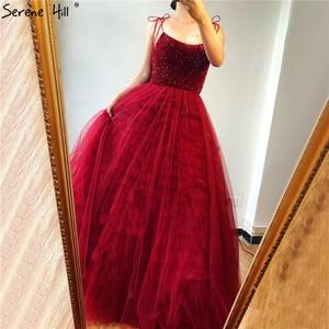 Image 5 - אדום ללא שרוולים סקסי אונליין ערב שמלות עיצוב 2020 ואגלי שכבות טול ערב שמלות ארוך תמונה אמיתית LA70164