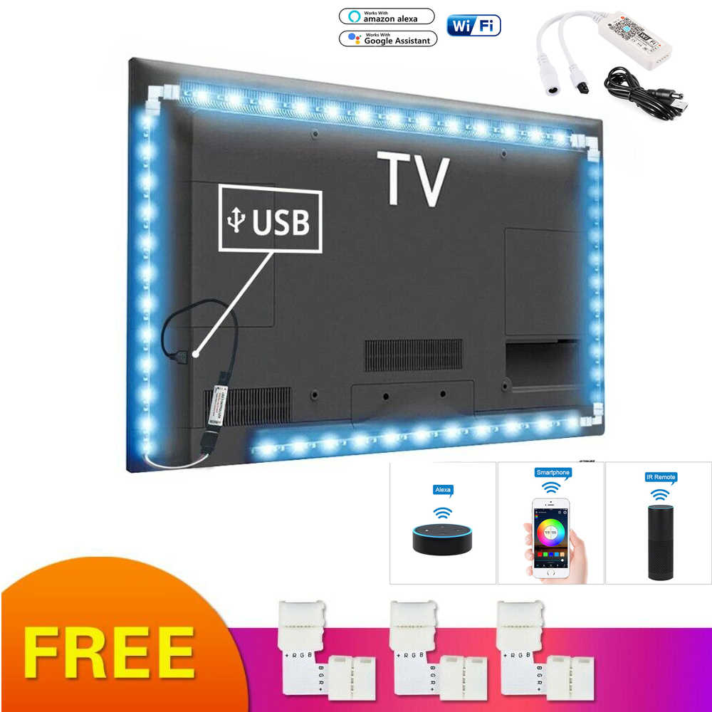 Listwy rgb led Light USB taśma neonowa podświetlenie tv PC Ambilight 5050 Wifi inteligentna aplikacja amazon alexa Google Kit pulpit tło lampa