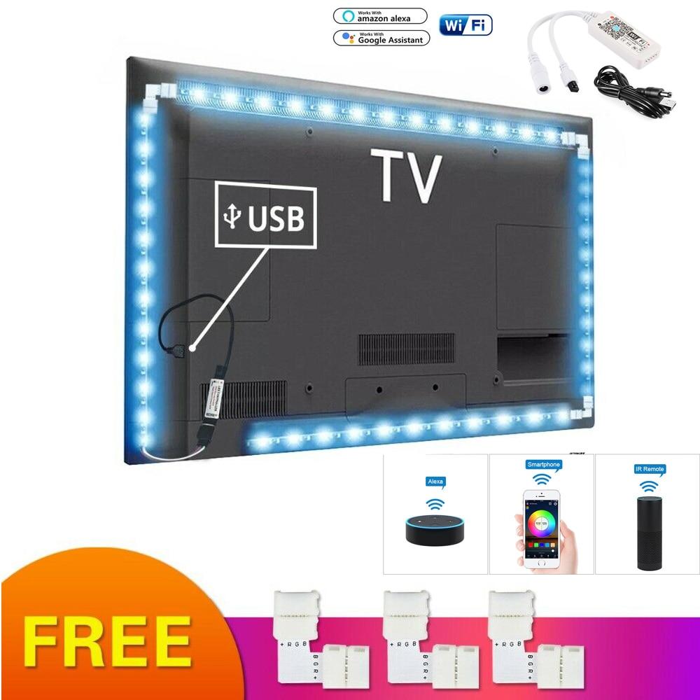 RGB LED Strip Light USB Neon Tape TV Backlight PC Ambilight 5050 Wifi Smart APP Amazon Alexa Google Kit Desktop Background Lamp(China)