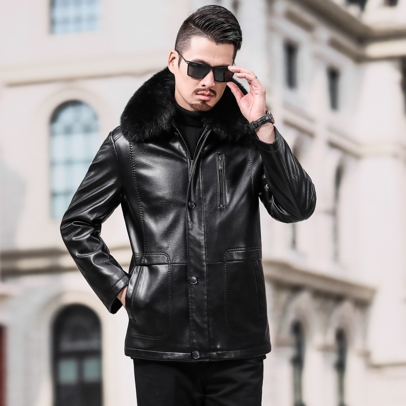 Thick Warm Fur Collar Fleece Liner Mens Faux Leather Jackets Smart Casual Single Breasted Plus Size Male Winter Shearing Coats