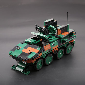 The Military Technic Weapon XB06043 Army Theme GTK Boxer Armored Tank Building Blocks WW2 Model MOC With Figures Bricks Toys the military technic xingbao new 06042 army theme armored tank building blocks ww2 weapon figures bricks boy s birthday toys