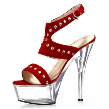 Super high heel sandals rivet European and American suede women's shoes new buckle waterproof table large size women's shoes