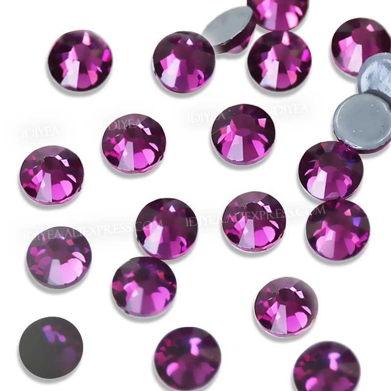 Fuşya sıcak düzeltme flatback rhinestones elbise art glitters kristaller düzeltme strass taşlar giysi giysi köpüklü payetler