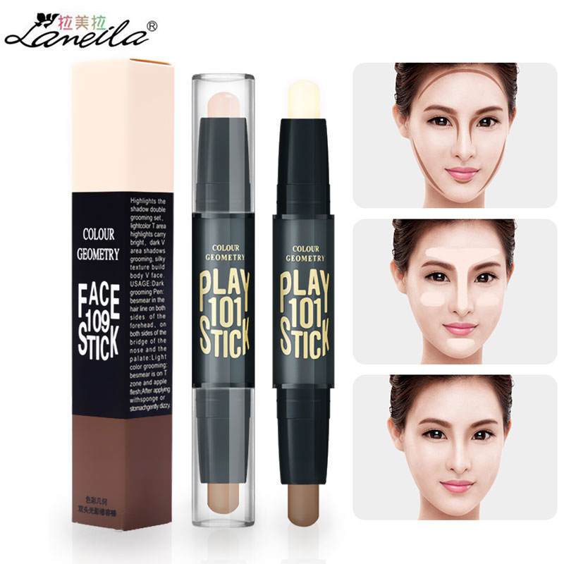 Double-head Facial Highlight Foundation Base Contour Stick Make Up Face Powder Cream Shimmer Concealer Pen Makeup Hide Blemish