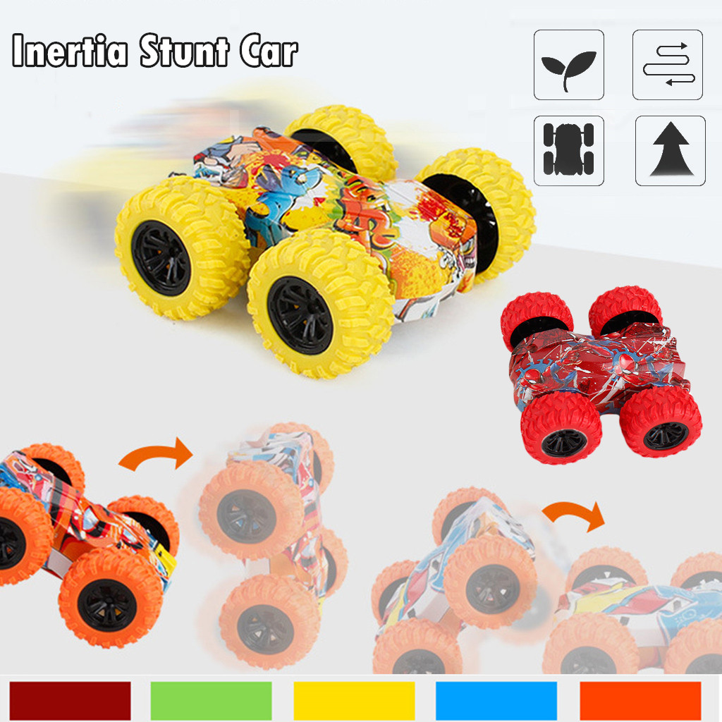 Kids Toy Inertia-Double Side Stunt Graffiti Car Off Road Model Car Vehicle Kids Toy Gift Car Collection Pull Back Model
