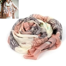 Autumn Winter Women Scarf Tower Printed Long Scarf Shawl Casual Soft Warm Pink  Voile Party Dating 80*170cm #5 casual poppy print voile scarf