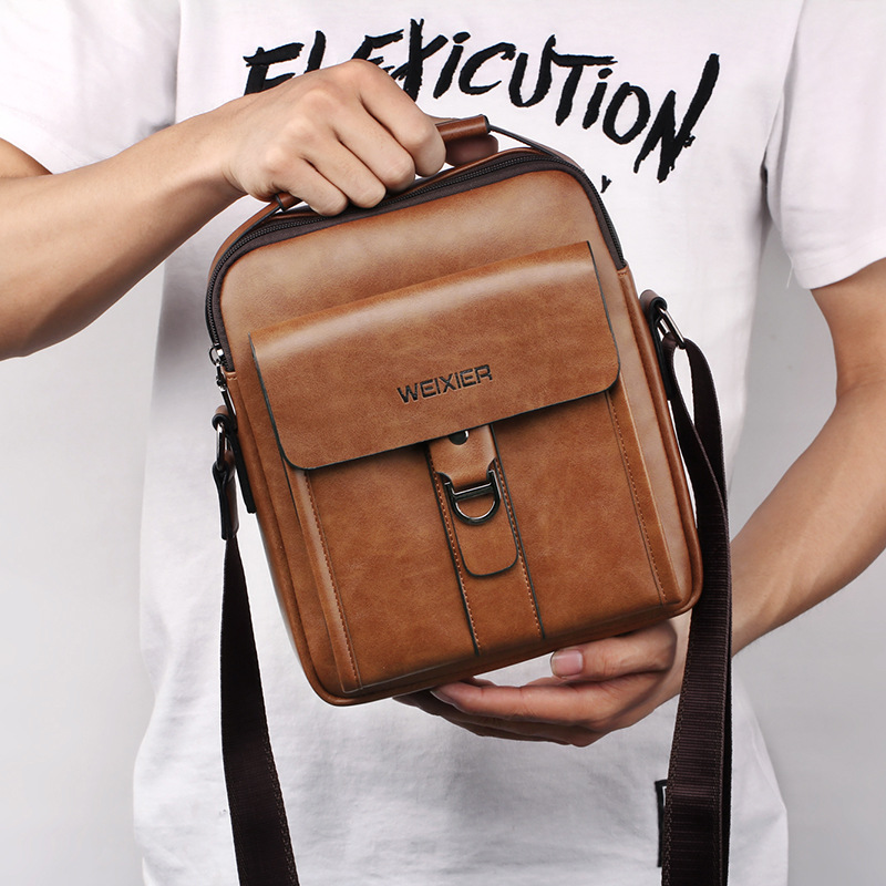 Classic Men's Briefcases Leather Business Office Computer Laptop Bags Casual Shoulder Crossbody Bags For Men Sacoche Homme