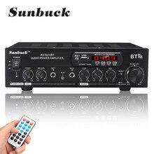 1200w áudio bluetooth amplificador de potência 110v/220v dc 12v entrada aux 2.0 alto-falante de alta fidelidade 4 microfone fm usb sd 2 x mic entrada