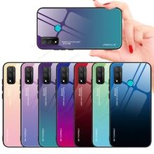 Luksusowe szkło hartowane etui do Huawei P Smart 2021 P smart 2020 kolorowe tylna pokrywa dla Huawei P Smart Plus 2019 18 etui na telefony cheap GerTong CN (pochodzenie) Pół-owinięte Przypadku Gradient Tempered Glass Case Soft Silicone Frame Bumper P Smart 2019