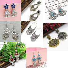 Vintage Ethnic Gypsy Indian Earrings For Women Boho Jewelry Ladies Retro Round Bell Tassel Hollow Tassel Jhumka Earrings 2019