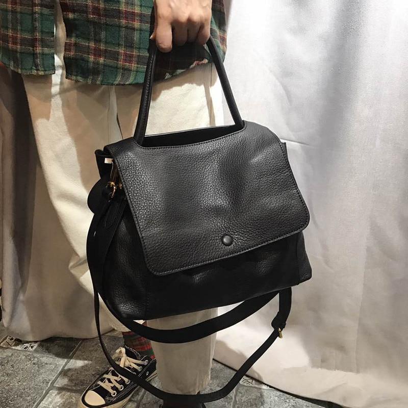 Designer Handbags Women Bags Soft Genuine Leather Shoulder Bag Fashion Temperament Female Crossbody Bags Solid Black Hand Bag