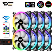DarkFlash – boîtier de ventilateur 140mm, refroidisseur RGB AURA SYNC, 5V/3pin, avec télécommande IR, silencieux coque d'ordinateur refroidisseur de processeur et radiateur
