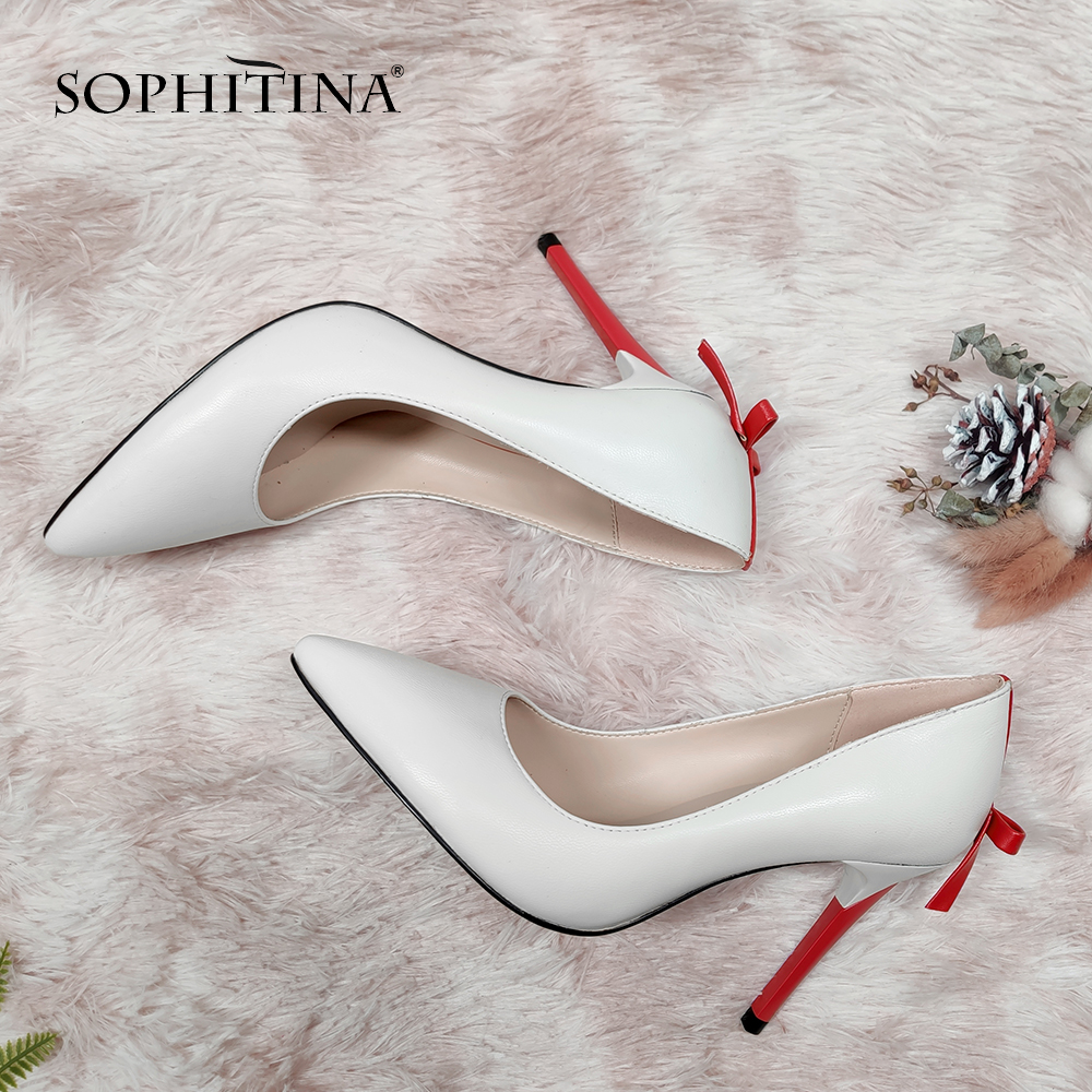 SOPHITINA Fashion Shallow Pumps High Quality Sheepskin Sexy Pointed Toe Thin Heel Butterfly Design Shoes New Women's Pumps SC661