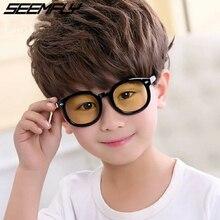Seemfly Blue Light Kids Glasses Optical Frame 2019 Children Boy Girl Computer Transparent Blocking Anti Reflective Eyeglasses UV