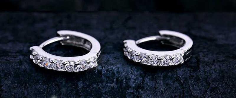 YANHUI 100% oryginalny 925 Sterling Silver hipoalergiczne kolczyki cyrkon stadniny kolczyki dla kobiet dziewczyna proste srebro 925 biżuteria