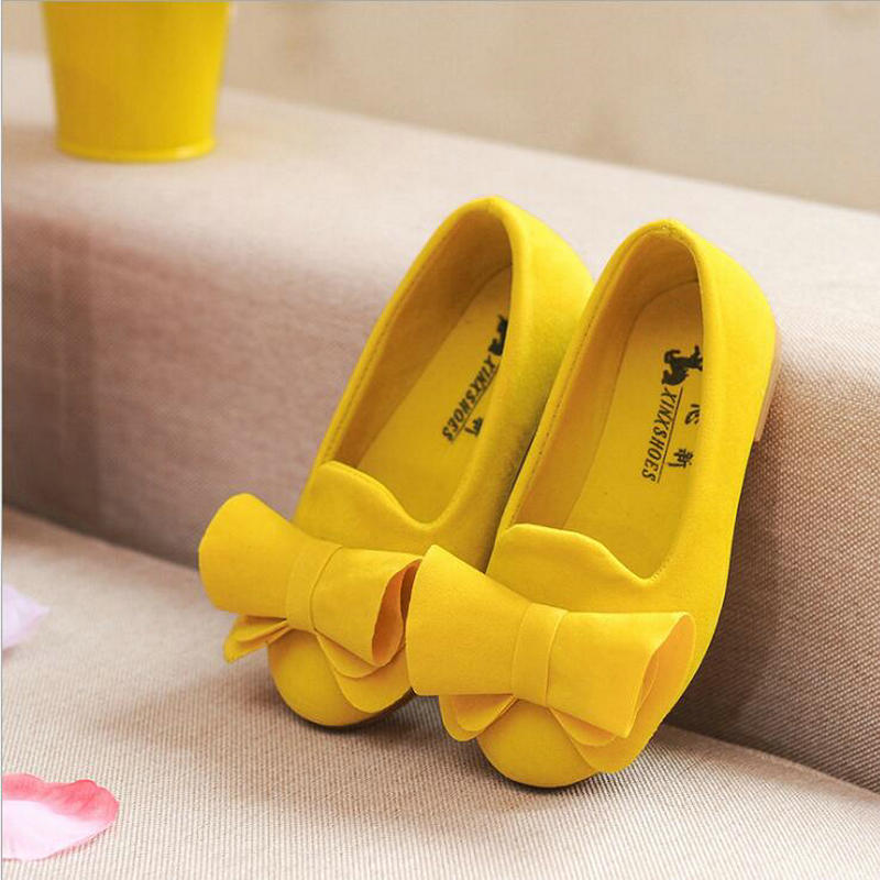New Spring Autumn Big Bow Flock Girls Shoes Princess Flat Shoes Non-slip Girls Candy Colors Single Sneakers Baby Princess Shoes