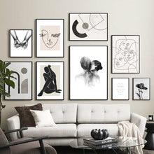 Nordique Vintage affiche fleur baiser lignes mur Art toile peinture abstraite affiches et impressions photos murales pour salon décor