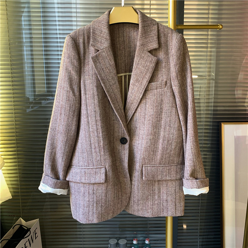 Woolen Plaid Blazer Women Casual Notched Single Button Pockets Jacket