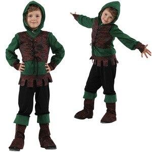 Kids Kind Middeleeuwse Archer Hunter Robin Hood Kostuum Voor Jongens Halloween Purim Carnaval Party Mardi Gras Cosplay Outfit(China)