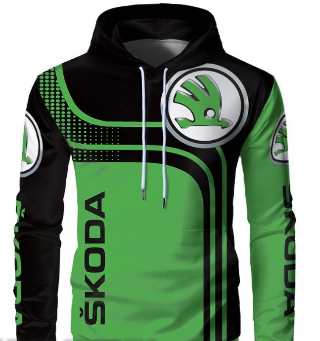 Men's Hoodies Skoda Car 3D Logo Printed Spring Autumn Streetwear Fashion High Quality Men's Clothes Pullovers Casual Sportswear