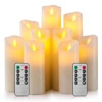 Flammenlose Kerzen Batterie Betrieben Kerzen 4 Zoll 5 Zoll 6 Zoll 7 Zoll 8 Zoll 9 Zoll Set Von 9 elfenbein Echt Wachs Säule LED Kerzen -