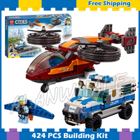424pcs City Arctic Sky Police Diamond Heist Winged jetpack Transporter 11209 Figure Building Blocks Toys Compatible with Lego