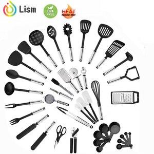 Image 1 - Ensemble dustensiles de cuisine ensemble dustensiles de cuisine 40 pièces ensemble dustensiles en Nylon et en acier inoxydable ensemble de spatule antiadhésive ensemble doutils de cuisine cadeau