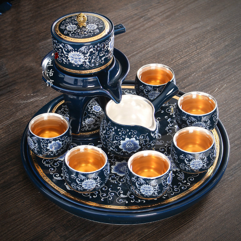 Porcelain Silver Ceramic Tea Set Kung Fu Tea Set Home Simple Tea Cup Retro Full Semi-automatic Lazy Creative Modern