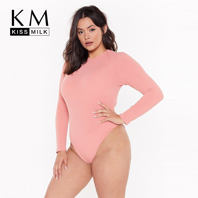 Kissmilk 2019 New Arrival Autumn Fashion Sexy Round Neck Solid Slim Long Sleeve Large Size Women   Jumpsuit