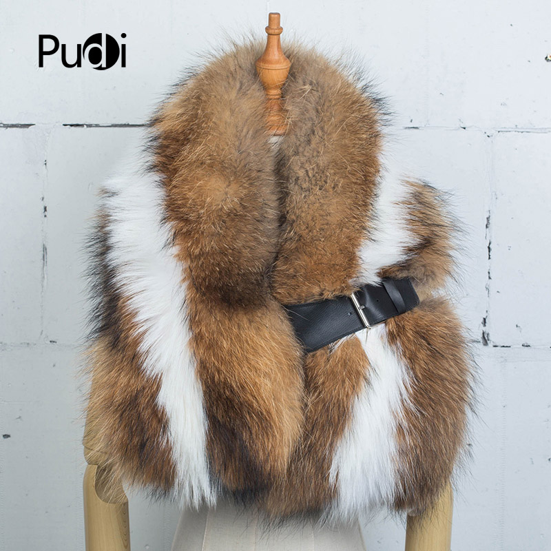 Pudi SF734 The new women's winter fur scarf real raccoon fur scarf with belt  big collar for women