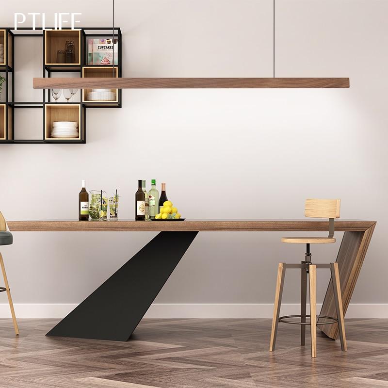 Wood LED Pendant Light  Hang Lamp Dining/living Room Kitchen Island Shop Bar Cafe Droplight Long Tube Nordic Pendant Lights