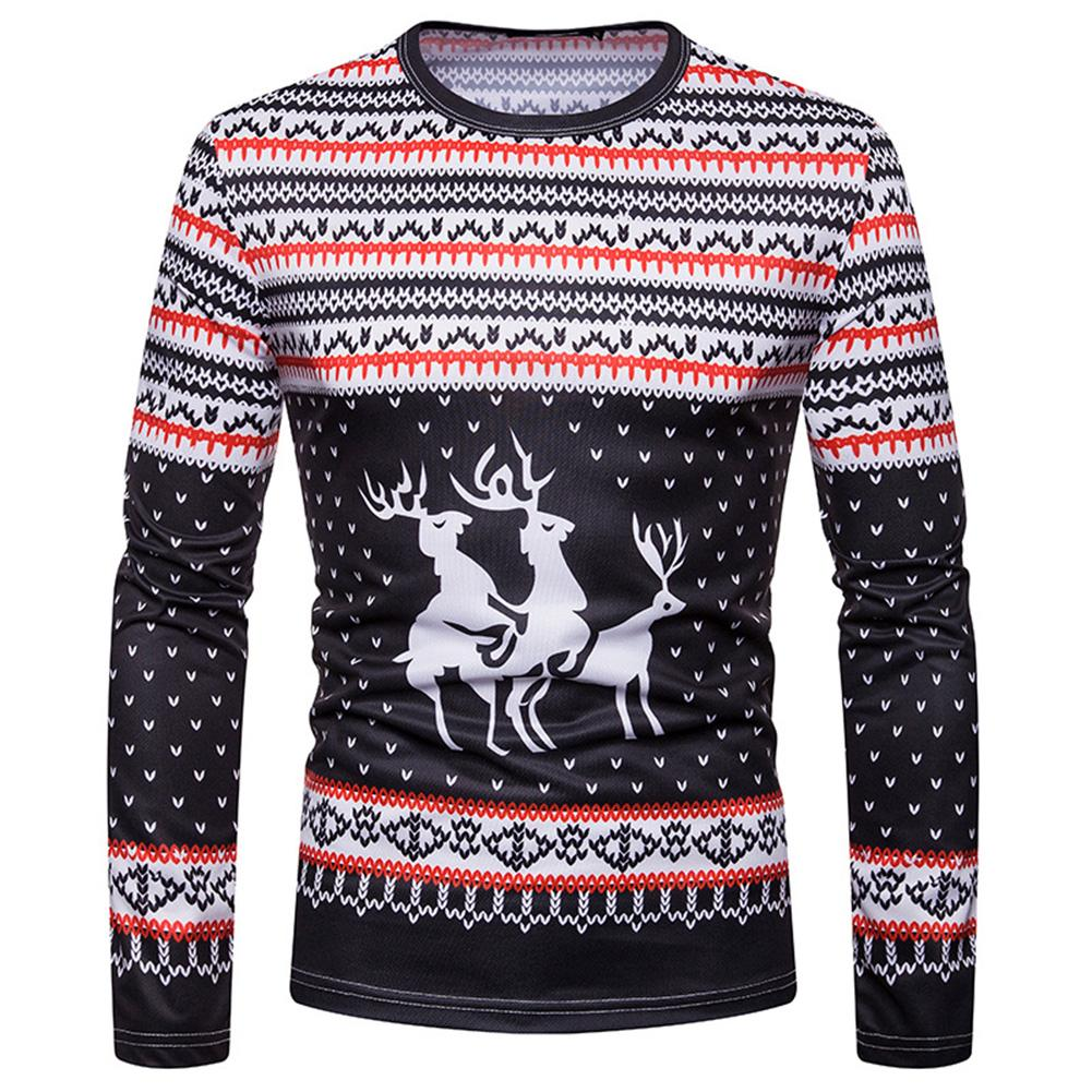 Christmas Fashion Men Elk Print O Neck Long Sleeve Casual Bottoming Top Blouse Polyester/Spandex Xmas Style Casual Men's Blouse