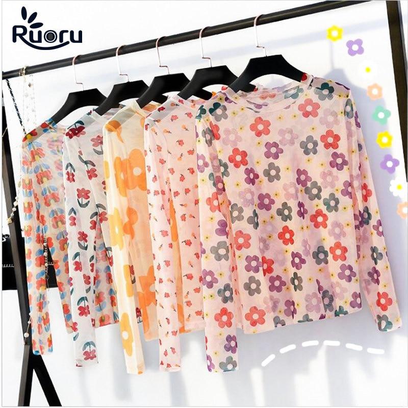 Ruoru Women Sexy Harajuku Mesh Tops Net See Through T Shirt Transparent Undershirt Base Top Camisas Femininas Korean Mujer
