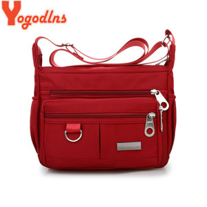 Yogodlns Multiple Compartment Crossbody Bags Women Messenger Bag Casual Lady Bag Waterproof Nylon Single Shoulder Strap Pack