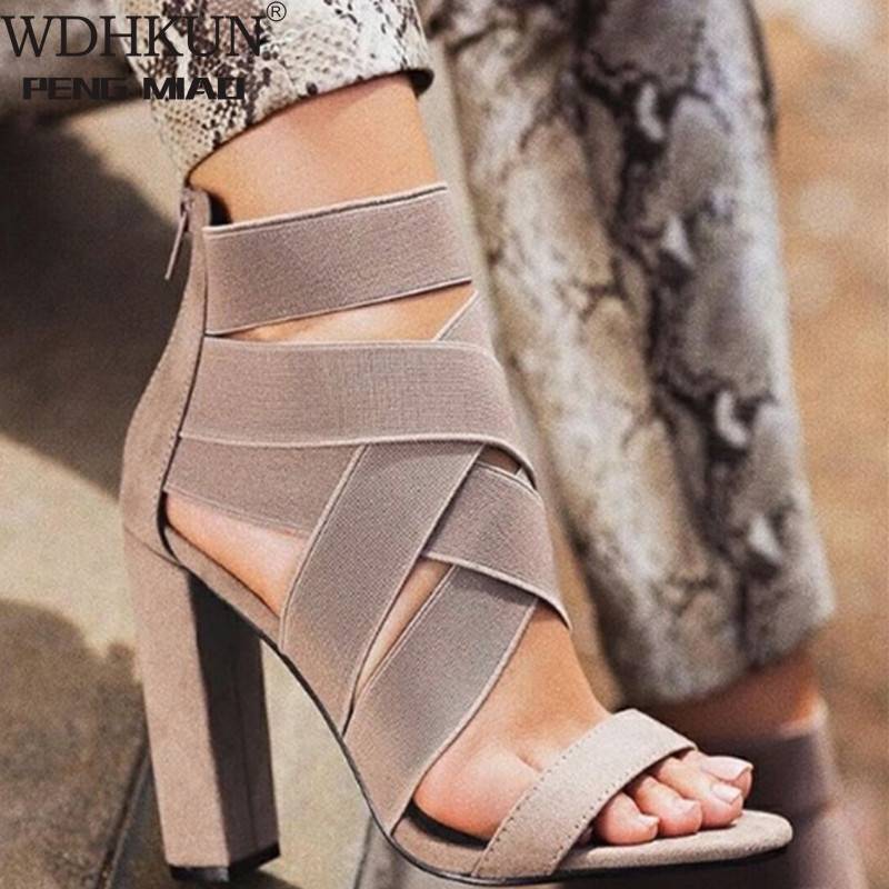WDHKUN 2020 New Style Fashion Ladies Summer Sexy High Heel Party Shoes Ladies Open Toe Thick With Women's High Heels Sandal