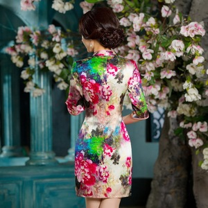 Image 4 - 2019 판매 하프 Vestido 드 Debutante 새로운 중국 스타일 레트로 여자 Cheongsam 스커트 실크 개선 중간 슬리브 슬림 도매