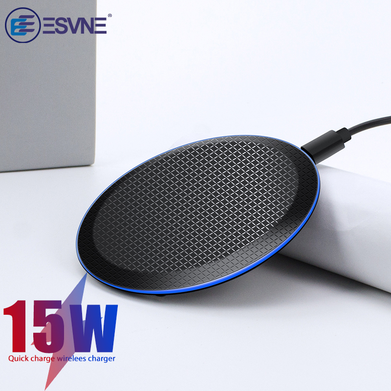 ESVNE 15W Fast Qi Wireless Charger For IPhone 11 Pro 8 X XR XS Wirless Charging For Samsung Phone USB Charger Wireless Pad E039