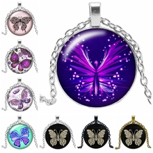 2019 New Romantic Cute Butterfly Necklace Jewelry Pendant Crystal Convex Round Glass Childrens Gift