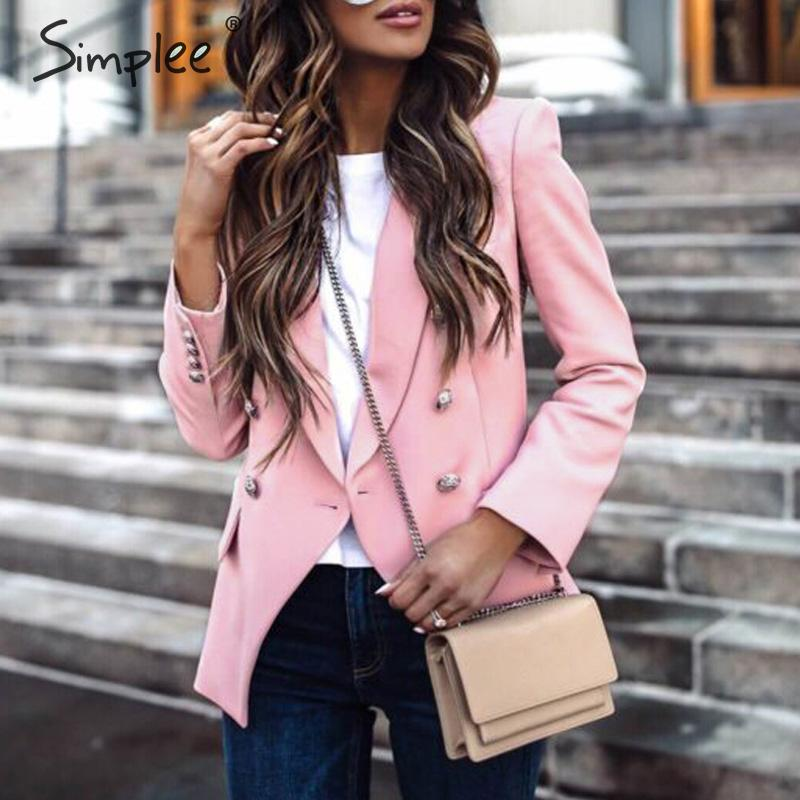 Simplee Elegant Buttons Women Blazers Casual Long Sleeve Autumn Winter Female Blazer Jackets Office Ladies White Blazers Coats