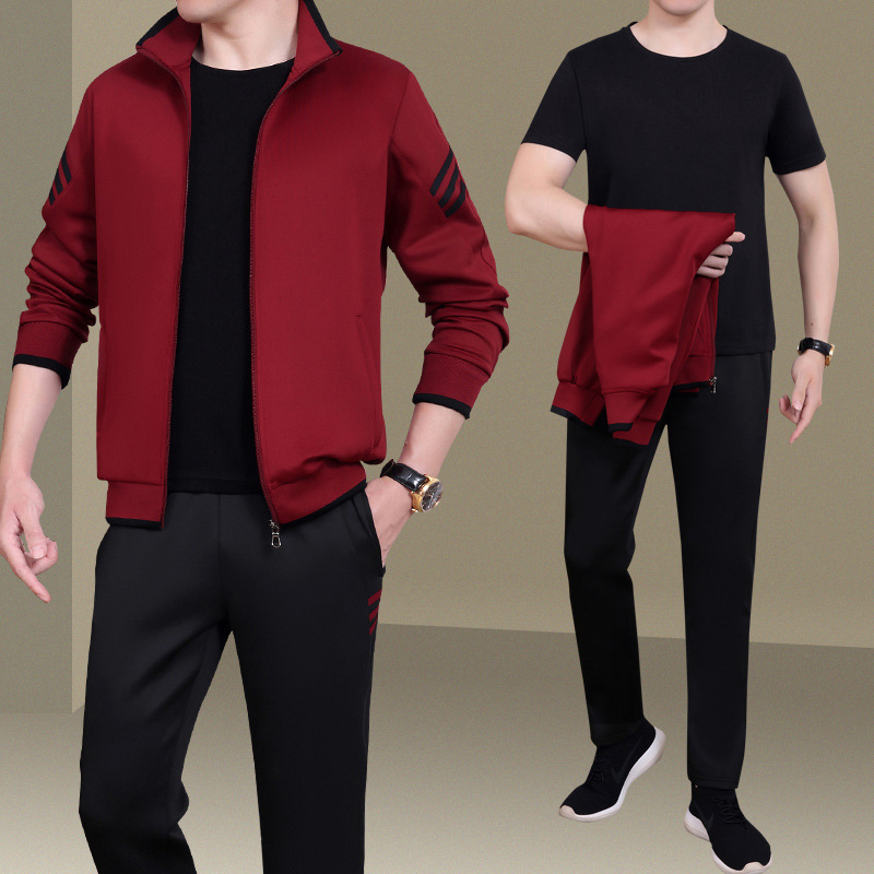 2020 Autumn And Winter Sports Set Men's Large Zipper Pack Running Clothing Stand Collar Long Sleeve Three-piece Set
